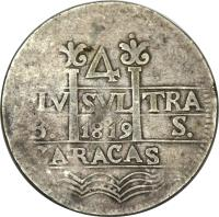 obverse of 4 Reales - Fernando VII (1819 - 1820) coin with C# 7 from Venezuela.