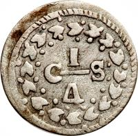 reverse of 1/4 Real (1829 - 1830) coin with C# 34 from Venezuela.
