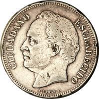 obverse of 10 Reales (1863) coin with Y# A11 from Venezuela. Inscription: CIUDADANO ESCLARECIDO