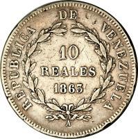 reverse of 10 Reales (1863) coin with Y# A11 from Venezuela. Inscription: REPUBLICA DE VENEZUELA 10 REALES 1863