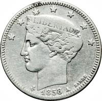 obverse of 2 Reales (1858) coin with Y# 10 from Venezuela.