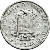 reverse of 2 Reales (1858) coin with Y# 10 from Venezuela.