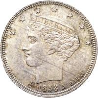 obverse of 1 Real (1858) coin with Y# 9 from Venezuela.
