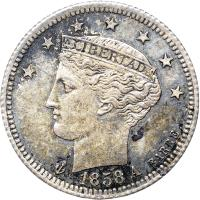 obverse of 1/2 Real (1858) coin with Y# 8 from Venezuela. Inscription: LIBERTAD 1858 A BARRE