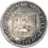 reverse of 1/2 Real (1858) coin with Y# 8 from Venezuela. Inscription: REPUBLICA DE VENEZUELA 1 1/2 RL. 1,15 GS.
