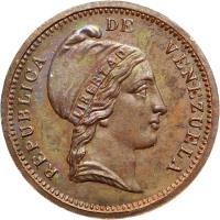 obverse of 1/4 Centavo (1852) coin with Y# 4 from Venezuela.