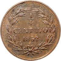 reverse of 1/4 Centavo (1852) coin with Y# 4 from Venezuela.