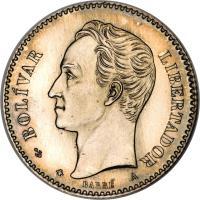obverse of 20 Centavos (1874 - 1876) coin with Y# 14 from Venezuela. Inscription: BOLIVAR LIBERTADOR BARRE A