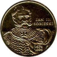 reverse of 2 Złote - Polish Kings and Princes: Jan III Sobieski (1674-1696) (2001) coin with Y# 423 from Poland. Inscription: JAN III SOBIESKI 1674 1696