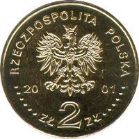 obverse of 2 Złote - XII Henry Wieniawski International Violin Competition (2001) coin with Y# 426 from Poland. Inscription: RZECCPOSPOLITA POLSKA 20 01 ZŁ 2 ZŁ
