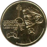 reverse of 2 Złote - XII Henry Wieniawski International Violin Competition (2001) coin with Y# 426 from Poland. Inscription: HENRYK WIENIAWSKI 1835-1880
