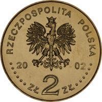 obverse of 2 Złote - 2002 World Football Cup Korea/Japan (2002) coin with Y# 433 from Poland. Inscription: RZECZPOSPOLITA POLSKA 2002 ZŁ 2 ZŁ