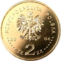 obverse of 2 Złote - General Stanisław F. Sosabowski (1892-1967) (2004) coin with Y# 499 from Poland. Inscription: RZECZPOSPOLITA POLSKA 2004 ZŁ 2 ZŁ