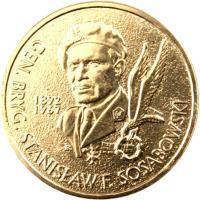 reverse of 2 Złote - General Stanisław F. Sosabowski (1892-1967) (2004) coin with Y# 499 from Poland. Inscription: GEN.BRIG.STANISŁAW F.SOSABOWSKI 1892 1967