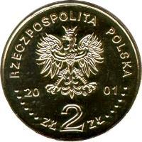 obverse of 2 Złote - Monuments of Material Culture in Poland: Salt-Mine in Wieliczka (2001) coin with Y# 408 from Poland. Inscription: RZECZPOSPOLITA POLSKA 2001 ZŁ 2 ZŁ