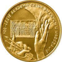 reverse of 2 Złote - 100th Anniversary of Foundation of Fine Arts Academy (2004) coin with Y# 509 from Poland. Inscription: 100 LECIE AKADEMII SZTUK PIĘKNYCH W WARSZAWIE