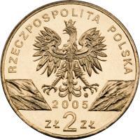 obverse of 2 Złote - Animals of the World: Eagle Owl (Bubo bubo) (2005) coin with Y# 520 from Poland. Inscription: RZECZPOSPOLITA POLSKA 2005 ZŁ 2 ZŁ