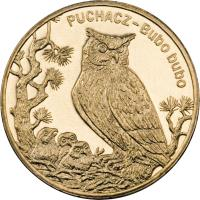 reverse of 2 Złote - Animals of the World: Eagle Owl (Bubo bubo) (2005) coin with Y# 520 from Poland. Inscription: PUCHACZ Bubo bubo