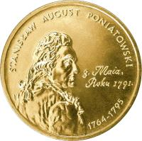 reverse of 2 Złote - Polish Kings and Princes: Stanisław August Poniatowski (1764-1795) (2005) coin with Y# 530 from Poland. Inscription: STANISLAS AUGUST PONIATOWSKI 1764 - 1795