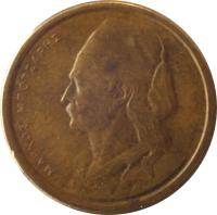 obverse of 50 Lepta (1976 - 1986) coin with KM# 115 from Greece. Inscription: ΜΑΡΚΟΣ ΜΠΟΤΣΑΡΗΣ