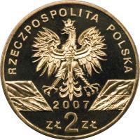 obverse of 2 Złote - Animals of the World: Grey seal (Halichoerus grypus) (2007) coin with Y# 578 from Poland. Inscription: RZECZPOSPOLITA POLSKA 2007 ZŁ 2 ZŁ