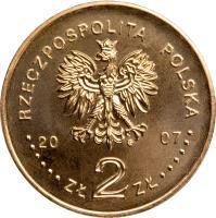 obverse of 2 Złote - History of the Polish Zloty: 5 zloty of 1928 issue (Nike) (2007) coin with Y# 592 from Poland. Inscription: RZECZPOSPOLITA POLSKA 2007 ZŁ 2 ZŁ