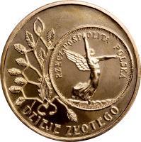 reverse of 2 Złote - History of the Polish Zloty: 5 zloty of 1928 issue (Nike) (2007) coin with Y# 592 from Poland. Inscription: DZIEJE ZŁOTEGO