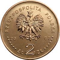 obverse of 2 Złote - 750th Anniversary of the granting municipal rights to Kraków (2007) coin with Y# 594 from Poland. Inscription: RZECZPOSPOLITA POLSKA 2007 ZŁ 2 ZŁ