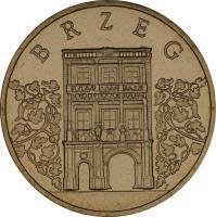 reverse of 2 Złote - Brzeg (2007) coin with Y# 615 from Poland. Inscription: BRZEG