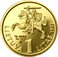 obverse of 1 Litas - 75th Anniversary of the Bank of Lithuania and the litas (1997) coin with KM# 109a from Lithuania. Inscription: 1/2 UNCIJOS Au 999,9 LIETUVA 1 LITAS 1997