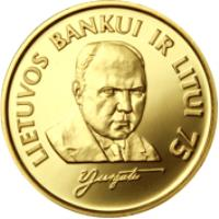 reverse of 1 Litas - 75th Anniversary of the Bank of Lithuania and the litas (1997) coin with KM# 109a from Lithuania. Inscription: LIETUVOS BANKUI IR LITUI 75
