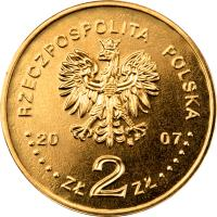 obverse of 2 Złote - Monuments of Material Culture in Poland - Medieval Town of Toruń (2007) coin with Y# 622 from Poland. Inscription: RZECZPOSPOLITA POLSKA 20 07 ZŁ2ZŁ