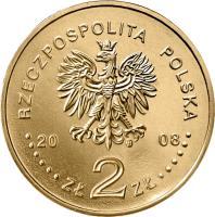 obverse of 2 Złote - Zbigniew Herbert (1924-1998) (2008) coin with Y# 634 from Poland. Inscription: RZECZPOSPOLITA POLSKA 2008 ZŁ 2 ZŁ