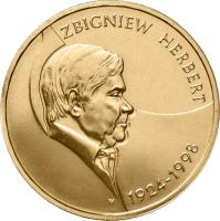 reverse of 2 Złote - Zbigniew Herbert (1924-1998) (2008) coin with Y# 634 from Poland. Inscription: ZBIGNIEW HERBERT 1924 - 1998