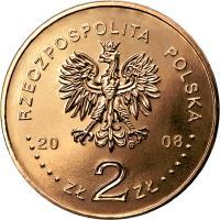 obverse of 2 Złote - Siberian Exiles (2008) coin with Y# 638 from Poland. Inscription: RZECZPOSPOLITA POLSKA 2008 ZŁ 2 ZŁ