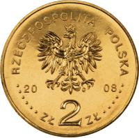 obverse of 2 Złote - 450 Years of the Polish Postal Service (2008) coin with Y# 656 from Poland. Inscription: RZECZPOSPOLITA POLSKA 2008 ZŁ 2 ZŁ