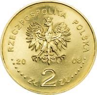 obverse of 2 Złote - 400th Anniversary of Polish Settlement in North America (2008) coin with Y# 659 from Poland. Inscription: RZECZPOSPOLITA POLSKA 2008 ZŁ 2 ZŁ