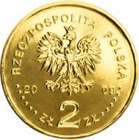 obverse of 2 Złote - 90th Anniversary of the Establishment of the Supreme Chamber of Control (2009) coin with Y# 673 from Poland. Inscription: RZECZPOSPOLITA POLSKA 2009 ZŁ 2 ZŁ