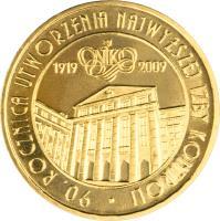 reverse of 2 Złote - 90th Anniversary of the Establishment of the Supreme Chamber of Control (2009) coin with Y# 673 from Poland. Inscription: 90 . ROCZNICA UTWORZENIA NAJWIZSZEJ ISBY KONTROLI 1919 2009