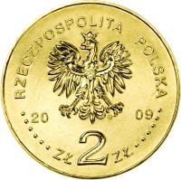 obverse of 2 Złote - History of Polish Popular Music: Czesław Niemen (2009) coin with Y# 684 from Poland. Inscription: RZECZPOSPOLITA POLSKA 2009 ZŁ 2 ZŁ