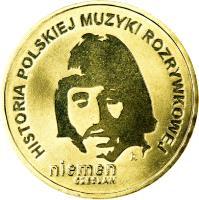 reverse of 2 Złote - History of Polish Popular Music: Czesław Niemen (2009) coin with Y# 684 from Poland. Inscription: HISTORIA POLSKIEJ MUZYKI ROZRYWKOWEJ niemen czesław