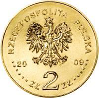 obverse of 2 Złote - 65th Anniversary of the Warsaw Uprising - Warsaw-born poets (K. K. Baczyński and T. Gajcy) (2009) coin with Y# 687 from Poland. Inscription: RZECZPOSPOLITA POLSKA 2009 ZŁ 2 ZŁ