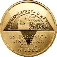 reverse of 2 Złote - 65th Anniversary of the Liquidation of the Lodz Ghetto (2009) coin with Y# 692 from Poland. Inscription: LITZMANN STADT - GHETTO 1940 1944 65. ROCZNICA LIKWIDACII GETTA W ŁODZI