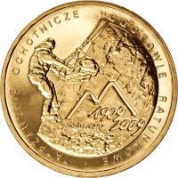 reverse of 2 Złote - 100th Anniversary of the Establishment of the Voluntary Tatra Mountains Rescue Service (2009) coin with Y# 697 from Poland. Inscription: TATRZANSKIE OCHOTNICZE POGOTOWIE RATUNKOWE 1909 2009 stolat TOPR