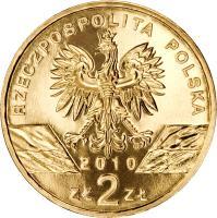 obverse of 2 Złote - Animals of the World: Lesser Horseshoe Bat (Rhinolophus hipposideros) (2010) coin with Y# 723 from Poland. Inscription: RZECZPOSPOLITA POLSKA 2010 ZŁ 2 ZŁ