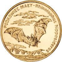 reverse of 2 Złote - Animals of the World: Lesser Horseshoe Bat (Rhinolophus hipposideros) (2010) coin with Y# 723 from Poland. Inscription: PODKOWIEC MAŁY Rhinolophus hipposideros