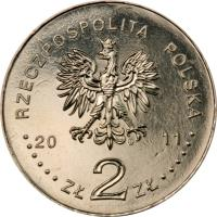 obverse of 2 Złote - In Memory of the Victims of the 10 April 2010 Presidential Plane Crash in Smolensk (2011) coin with Y# 769 from Poland. Inscription: RZECZPOSPOLITA POLSKA 2011 ZŁ 2 ZŁ