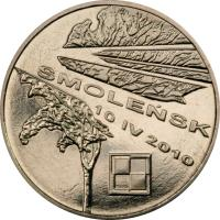 reverse of 2 Złote - In Memory of the Victims of the 10 April 2010 Presidential Plane Crash in Smolensk (2011) coin with Y# 769 from Poland. Inscription: SMOLEŃSK 10 IV 2010