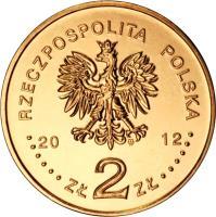 obverse of 2 Złote - Stefan Banach (2012) coin with Y# 817 from Poland. Inscription: RZECZPOSPOLITA POLSKA 2012 ZŁ 2 ZŁ