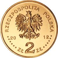 """obverse of 2 Złote - Polish Ships – """"Orzeł"""" Submarine (2012) coin with Y# 837 from Poland. Inscription: RZECZPOSPOLITA POLSKA 2012 Zł 2 Zł"""
